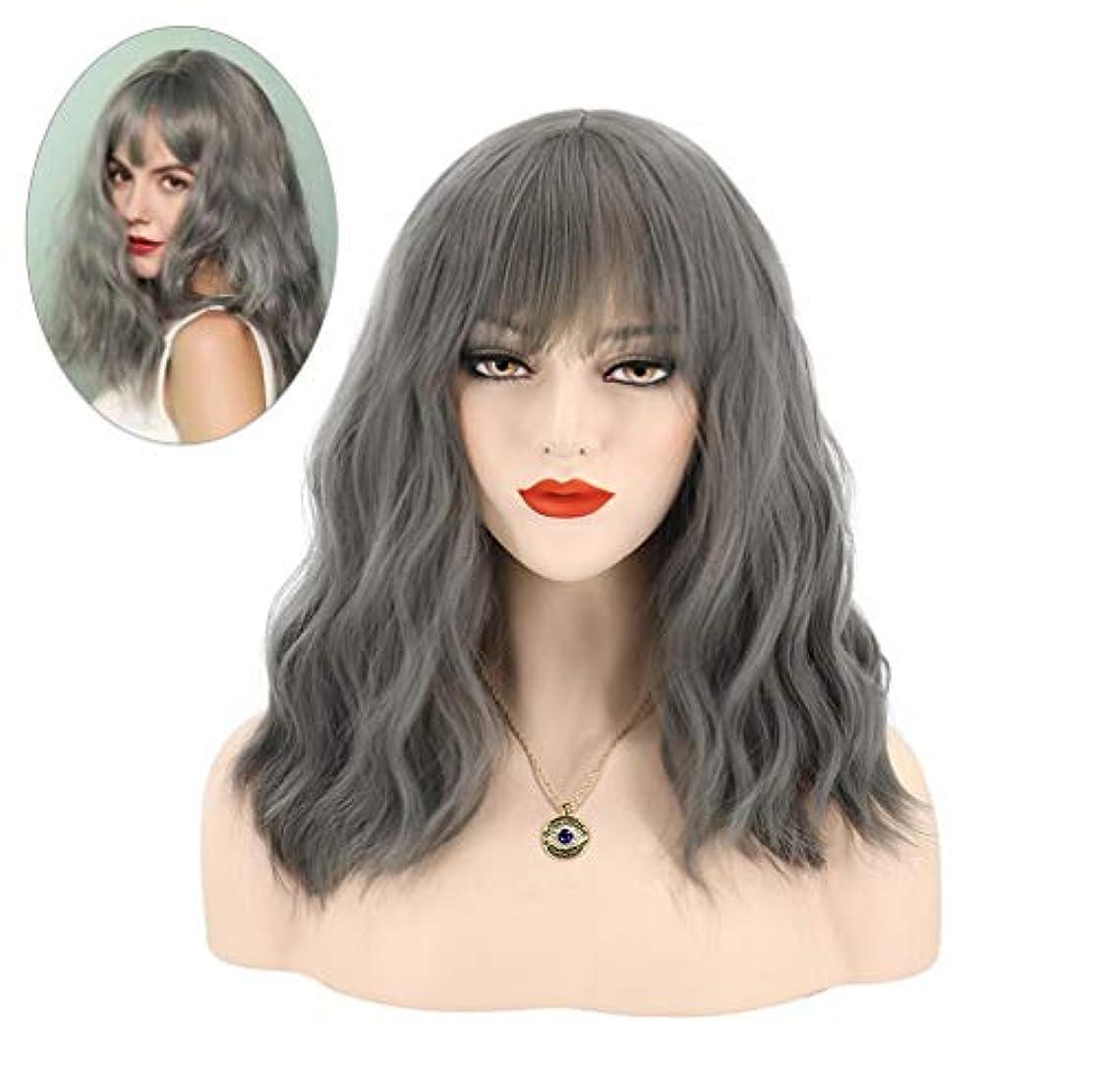 感度期待ボタン女性かつらカール耐熱合成繊維水波かつらベビーヘアウィッグ150%密度グレー45センチ