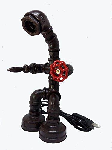 Sike IndustrialレトロスタイルPersonalizedクリエイティブIron水パイプテーブルランプwithレッドバルブハンドル( USバージョン)