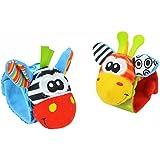 Baby Rattle, Children's Wristband Kids Bracelet Wristband Soft Plush Educational Rattles Play Toy Gifts Random Color 2 Pcs