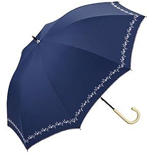 w.p.c 日傘 晴雨兼用 遮光 プチフラワー 刺繍 ネイビー 50cm 81-6229