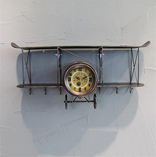 BZEI-掛け時計 大規模な壁の時計鉄の航空機の設計、現代の静かなデジタルウォールクロッククリエイティブバー/カフェ/リビングルームの壁の装飾時計アンティークビンテージレトロスタイルのストレージシェルフ、単3形電池、L68 * D17.5 * H32cm ( 色 : ブロンズ )
