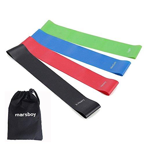 marsboy トレーニングチューブ フィットネスチューブ エクササイズバンド トレーニング用ゴムバンド 天然ゴム採用 強度別4本セット 収納袋付き