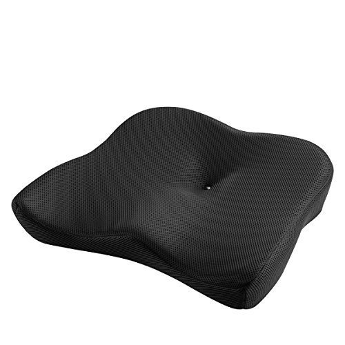 SATEOBA 第五世代座布団 低反発クッション 体圧分散 圧力吸収 骨盤サポート 正しい姿勢に 座り心地抜群 オフィス 椅子用 車用 腰楽クッション ブラック