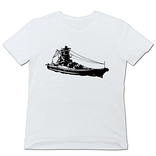ティナ メンズ Tシャツ 戦艦 自衛隊 Tシャツ 簡単 White Large