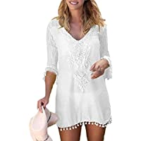 Women Crochet Chiffon Tassel Swimsuit Bikini Pom Pom Trim Beach Cover Up