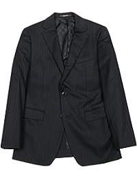 【COMME CA MEN】コムサメン 「FRESCO MODEL」ストライプ2Bテーラードジャケット 黒 size 44F