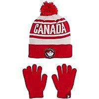 Canada Weather Gear Boys' Winter Pom Pom Beanie Hat and Gloves Set
