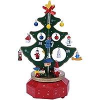 whitelotous merry-go-round木製ツリーホリデーギフトクリスマス装飾音楽ボックス グリーン 151853.01
