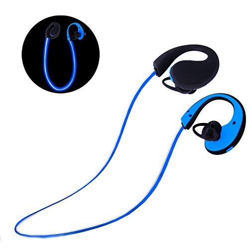 Esonstyle Bluetooth4.1 ステレオ 蛍光イヤホン LED搭載 防水 防滴 スポーツ仕様 夜間ランニング適用 内蔵式マイク 大容量バッテリー搭載 (青)