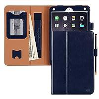 iPad Mini4 ケース ipadみにmini4ケース,FYY 手帳型 オートスリープ機能 スタンド機能 カードポケット 伸縮性ハンドストラップ タッチペンホルダー マグネット式 耐衝撃 PUレザー 全面保護型 ipad mini 第4世代対応 ネイビー