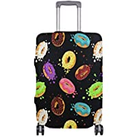 Mydaily Colored Donuts Cartoon Luggage Cover Fits 18-32 Inch Suitcase Spandex Travel Protector