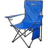 Sable アウトドアチェア 折りたたみいす キャンプ用椅子 フィッシングチェア 背もたれ付き 収束式 耐荷重120kg 軽量 収納バッグ・ドリンクホルダー付き SA-HF018