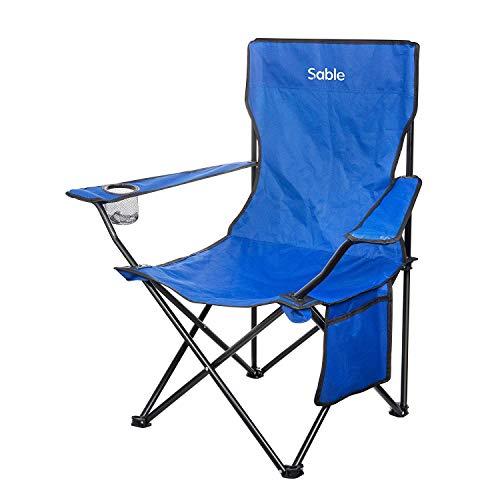Sable アウトドアチェア 折りたたみいす キャンプ用椅子 フィッシングチェア 背もたれ付き 収束式 耐荷重120kg 軽量 収納バッグ・ドリンクホルダー付き SA-HF018 (ブルー)