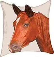 ブラウンHorse Printed Throw Pillow with 3d Ears 18x 18