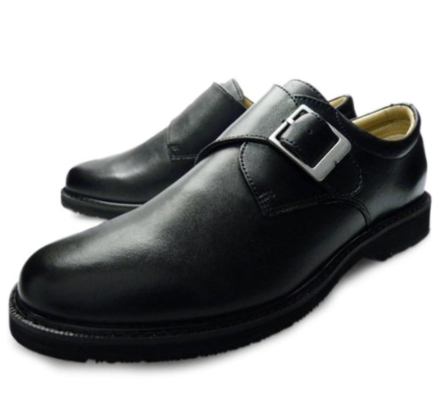 嬉しいですけがをする手足メンズ 本革 ビジネスシューズ 3E (EEE) 革靴 紳士靴 モンク [ブラック 黒] black [ウォーカーズメイト] WALKERS MATE 6600 ビジネスウォーキング