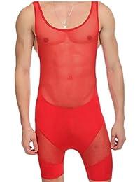 Fly Year-JP ボディスーツの男性用下着のジャンプスーツを通して見るメッシュレオタード