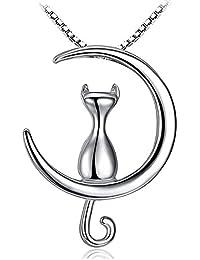 Joyfulshine Collection 猫ネックレス レディース シルバー 925 三日月 ネコ ペンダント プレゼント用 女性アクセサリー