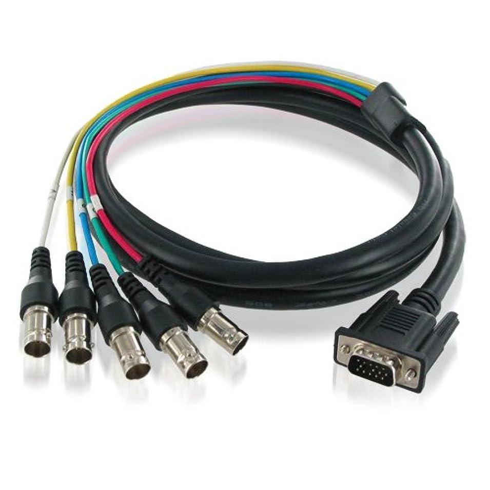 つぶやき球体倍増ハイパーツールズ VGA(ミニD-sub15ピンオス)⇔BNC(メス×5)変換ケーブル 3m VMC5F-3M-PT