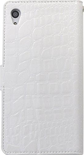 PLATA Xperia Z4 ケース 手帳型 SO-03G / SOV31 / 402SO クロコダイル レザー スタンド ケース 手帳 カバー XperiaZ4 エクスペリアZ4 【 ホワイト 白 しろ white 】 DSO03G-52WH