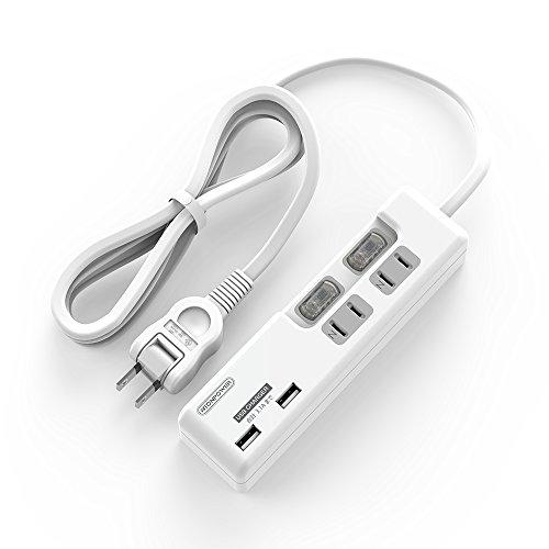 テーブル タップ ほこり防止シャッター、スイングプラグとACコンセント個別スイッチ付きの小型 壁つけの急速充電 USB 電源タップAC 2個口 USB 2ポート