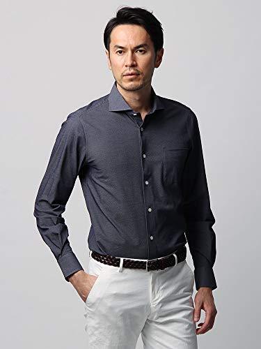 (ユニバーサルランゲージ) JAPAN FABRIC/VERTICAL/織柄 ホリゾンタルカラージャージーシャツ ネイビー×ホワイト M