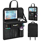 Car Seat Back Organizer, Pushingbest Foldable Car Dining Table Touch Screen Tablet Holder Bottles Holder Multifunctional Car Back Seat Organizer (Black 1)