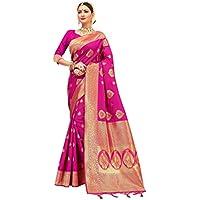 Elina fashion Sarees for Women Banarasi Art Silk l Indian Rakhi Wedding Diwali Gift Sari with Unstitched Blouse