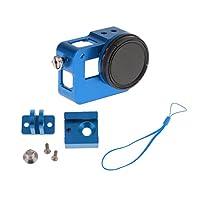 Lovoski  セット アルミ製 取り付け 保護フレーム レンズキャップ  Gopro Hero 5対応 全3色 - ブルー