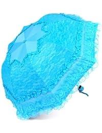 ブルーSweetレディース傘レース超軽量UV保護日焼け止め折り畳み傘