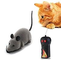ROSENICE 猫 おもちゃ ねずみ 電動 猫じゃらし リモコン付き ダイエット 運動不足解消 グレー