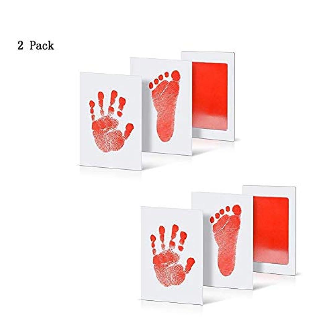 日記特徴制約Trueland 赤ちゃん 手形 足形キット インクタッチなし ベビーフレーム記念品 手足型 出産祝い 男女通用 新生児 写真立て 2枚インクパッド+ 4枚のインプリントカード