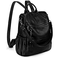 UTO Women Anti-Theft Backpack Purse PU Washed Leather Ladies Tassels Convertible Rucksack Shoulder Bag