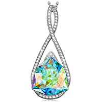 "Kate Lynn Encounter on Iceland Romantic Gifts for Her Women Jewelry Pendants Necklace Made with Swarovski Aquamarine Crystals Chain Length 17.5"" + 2"" Extender with Gift Box, Soft Cloth"