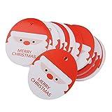 ノーブランド品 お買い得/セール 約100枚 クリスマスの紙 タグ・ラベル・カード ハング - 6.5 x 5.5 cmサンタ