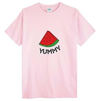 (ゴジラ千) GODZILLASENN メンズtシャツ スイカ ロゴプリントTシャツ マルーネック メンズトップス 半袖 ピンク XS