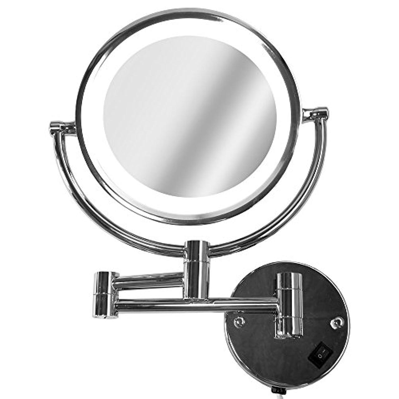 白い母読みやすいLa Curie アームミラー 壁付けミラー 拡大鏡 折りたたみホテルミラー LEDライト付 5倍 LaCurie014