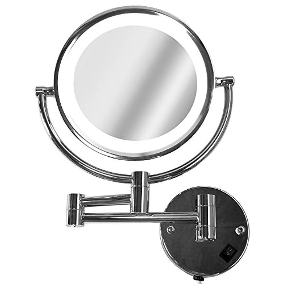 一族ケーキトライアスロンLa Curie アームミラー 壁付けミラー 拡大鏡 折りたたみホテルミラー LEDライト付 5倍 LaCurie014