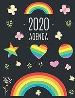 Arc en Ciel Agenda 2020: Planificateur Quotidien   Avec Calendrier 2020 (12 Mois)