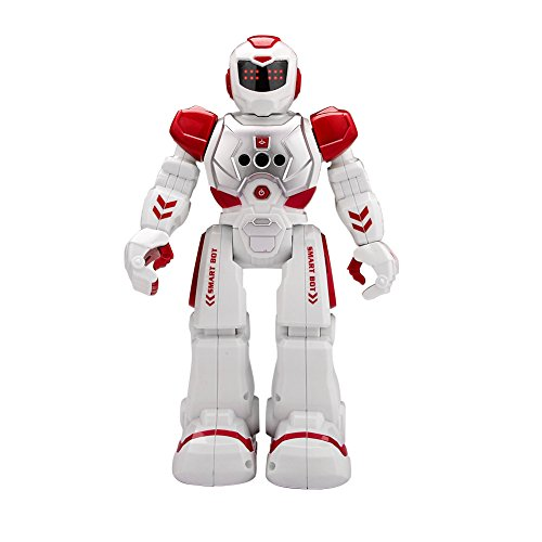 インテリジェン 人型ロボット プログラム可能 ジェスチャ制御 手振り制御 多機能ロボット 歩く ダンス ソングなど (レッド)
