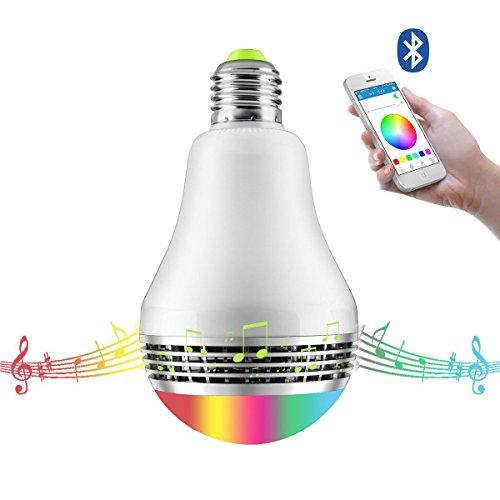Kingstar スマートLED電球 RGBワイヤレス スピーカー内蔵Bluetooth4.0 LEDライト 音楽再生でき 調光調色可 スマホ操作 E26/E27口金対応 取付簡単 タイマー機能 スマートマルチカラー 普段照明用 LED超省エネ電球 多彩音楽電球APPコントロール 色彩変化LED電球スピーカー 明度調整可能 Android/Apple IOSスマートフォンに適用 電球色 電球型 照明パーティー専用 LED電球スピーカー 目覚まし時計(1年安心保証付き)