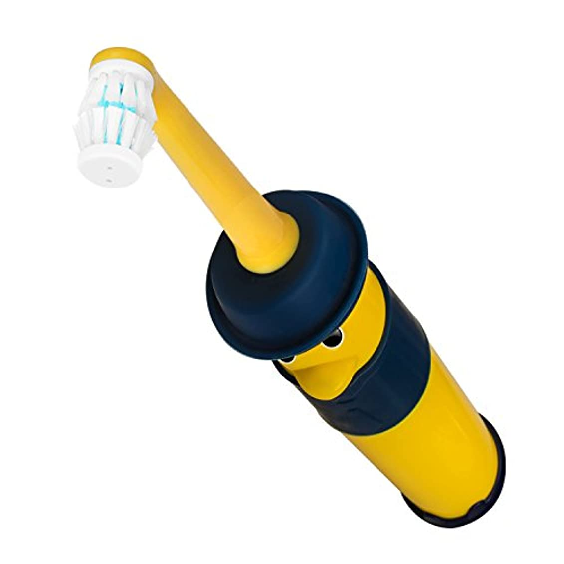 不健全扱うヒロイン電動歯ブラシ 子供用 YAFEELR かわいいキャラクター 360度右回り/左周り自由に回転で、自動切替対応 防水 国際特許所得 単3形アルカリ乾電池2個 ダブルメリットブラシです (3-6歳 黄色い)
