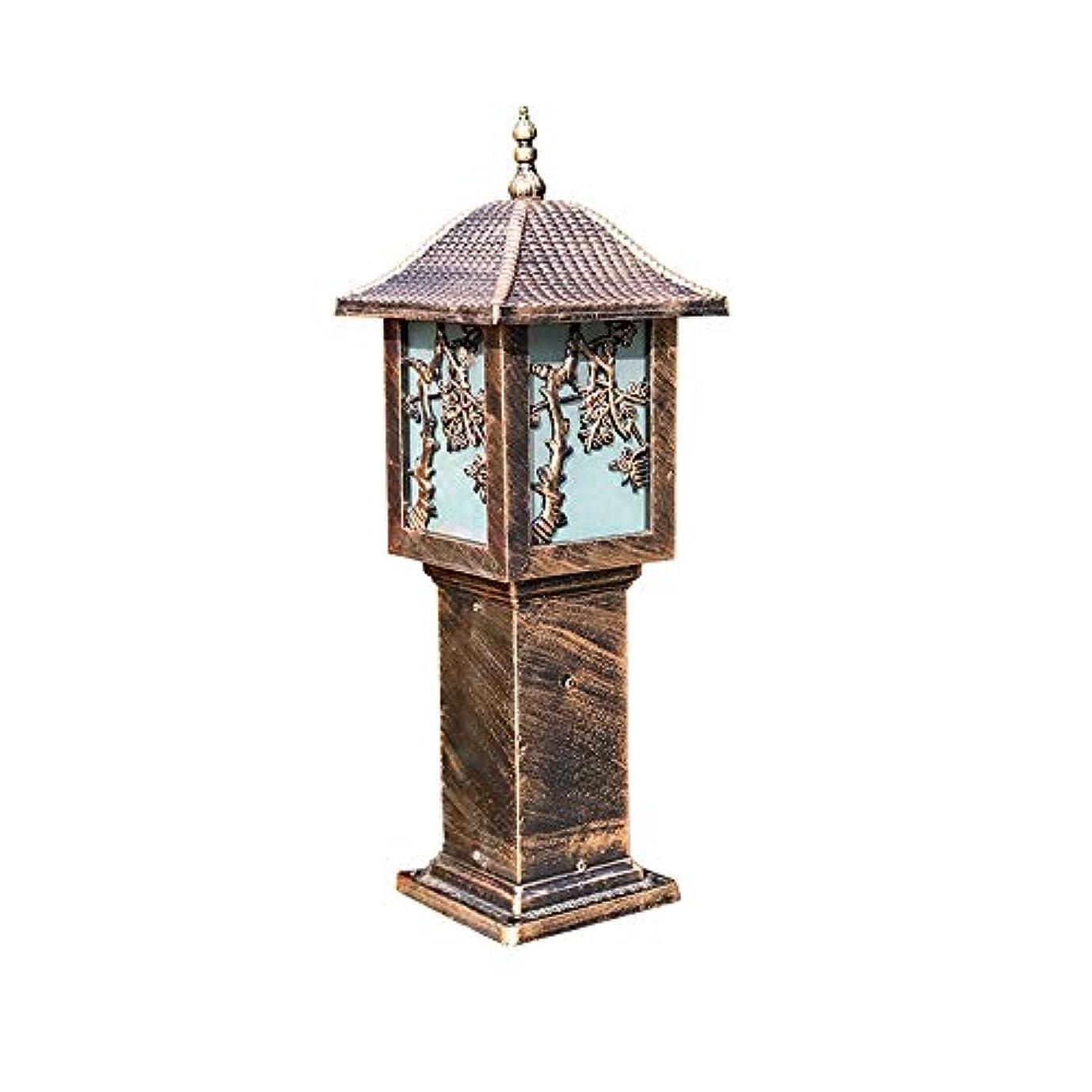 失われた暗い信仰Pinjeer E27ヨーロッパガラス防水屋外ヴィンテージコラムランプレトロ工業金属アルミポストライト風景芝生庭中庭装飾柱ライト (Color : Brass, サイズ : Height 60cm)