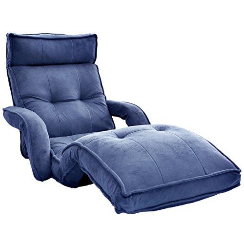 タンスのゲン 42段リクライニング 低反発 座椅子 肘付き 超ロング ハイバック ネイビー 15210032 01
