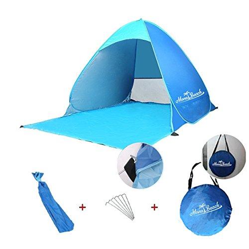 Monobeach 2人用ドームテント ライダーズワンタッチテント簡単10秒設営タープ機能で快適空間 超軽量テント (ブルー)