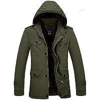 Men's Winter Warm Thicken Outdoor Military Hooded Coat Jacket Faux Fur Lined Outwear Parka Coat