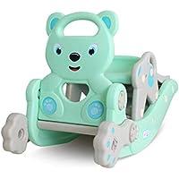 赤ちゃんロッキング乗馬 多機能 ロッキングチェア 滑り台 輪投げ バスケットネット 子供用ロッキングホース おもちゃ 1-6歳適用 ブルー