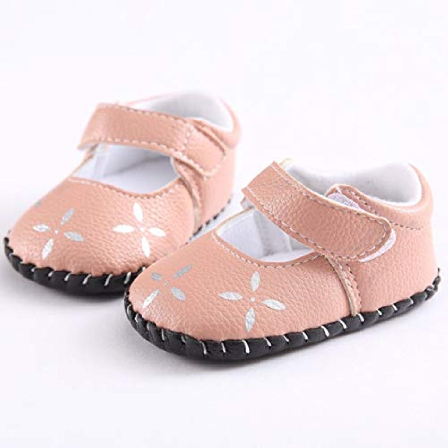 慣習禁止眉女の子ソフトボトム絶妙なファッション耐久性のあるピンクの人工Puレザーかわいいクロスフラワーペースト幼児の靴-ピンク-12cm