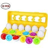 モンテッソーリ イースター 12 卵 パズル - Sendida 知育玩具 学習おもちゃ ブロックおもちゃ 12カラーシェイプ マッチングエッグセット はめこみ 形合わせ な色、形、分類認識スキル 学習玩具 (卵12個)