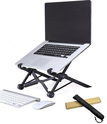 折り畳み式ノートパソコンスタンド肩こりと腰痛対策にも適用する収納便利 パソコンホルダー耐荷重10kg黒色