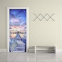 Xbwy 現代の3Dブルースカイシービューウッドブリッジドアステッカーリビングルームの寝室の写真壁壁画防水ビニール壁紙3D-400X280Cm